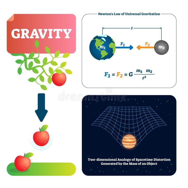 重力传染媒介例证 对对象的解释的自然力量与大量 库存例证