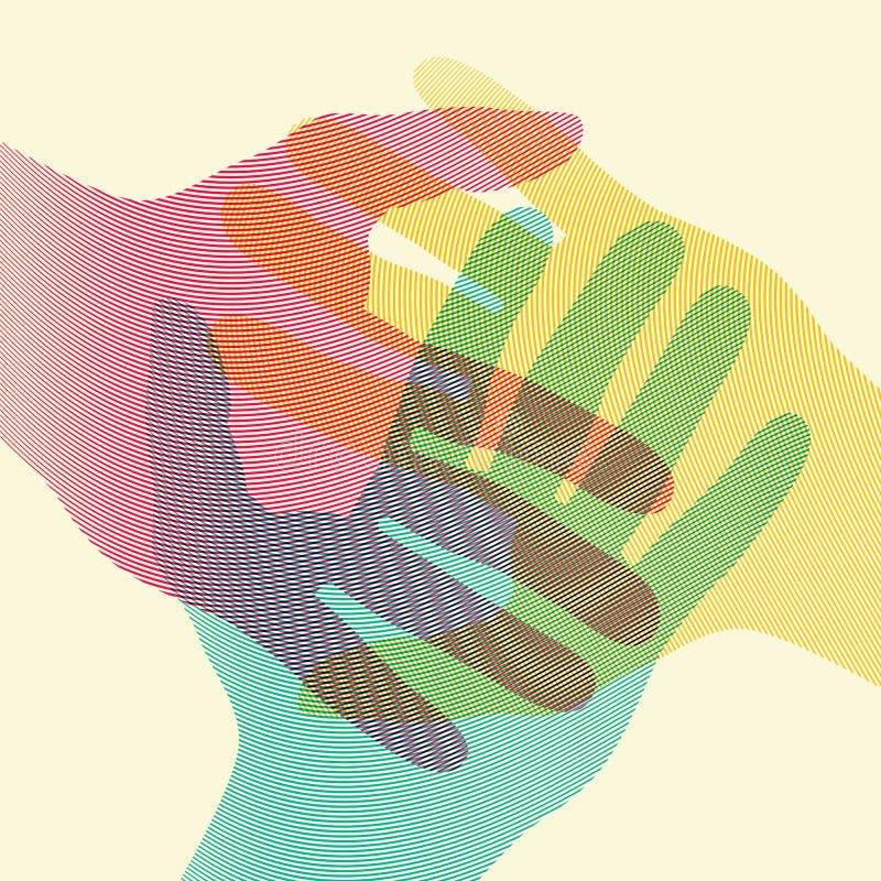 重叠的五颜六色的手概念海报 也corel凹道例证向量图片