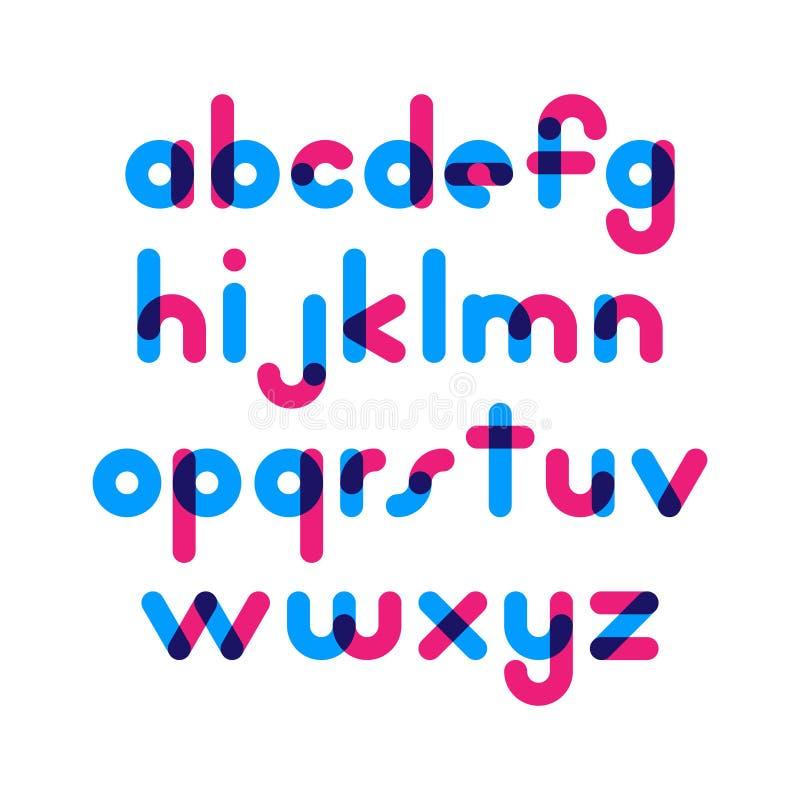 重叠的五颜六色的被环绕的平的字体 传染媒介在althabet上写字 皇族释放例证
