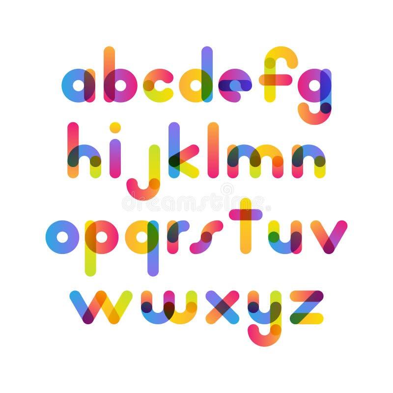 重叠的五颜六色的被环绕的平的字体 传染媒介在althabet上写字 向量例证