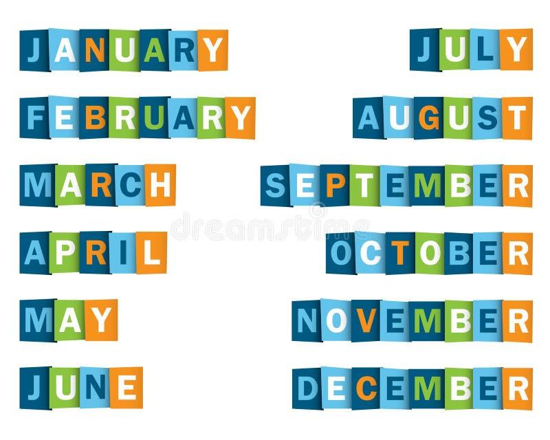 重叠的信件象年海报的几个月  向量例证