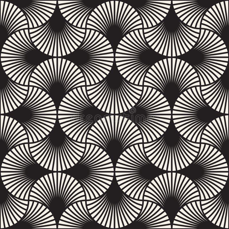 重叠的弧的传染媒介无缝的葡萄酒样式在艺术装饰样式的 现代时髦的抽象纹理 重复几何瓦片 图库摄影