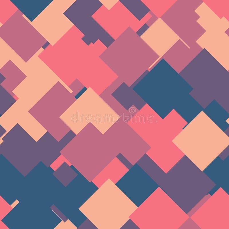 重叠的正方形的无缝的抽象几何样式在任意顺序的 滑稽,愉快和儿童题材 简单的舱内甲板 向量例证