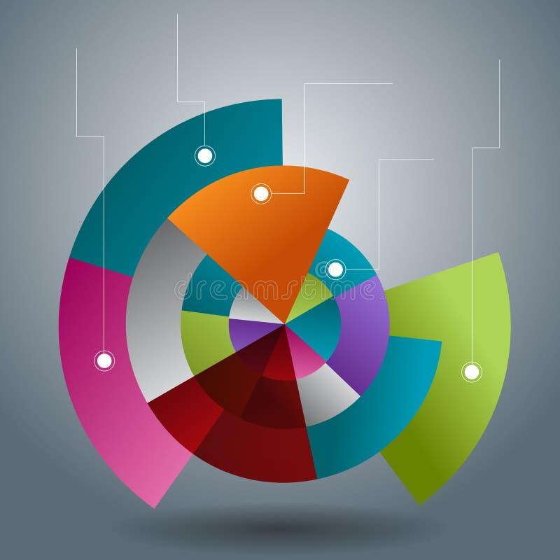 重叠的透明圆形统计图表切片 向量例证