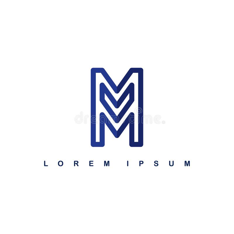 重叠线艺术模板商标略写法字母表信件m 皇族释放例证