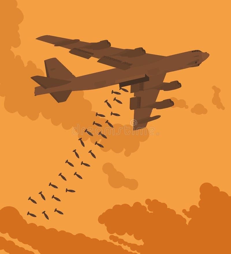 重型轰炸机空投了炸弹 向量例证