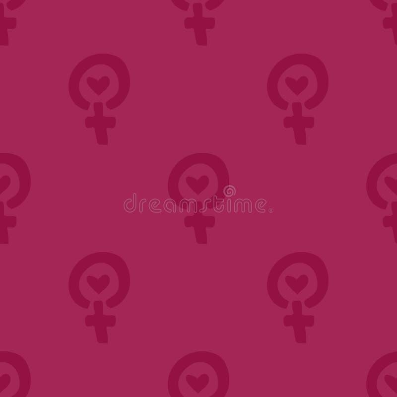 重复与女性金星的标志的几何背景 模式无缝的向量 对包装纸,织品 免版税图库摄影