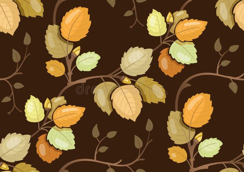 重复与打旋的秋叶的样式 库存例证