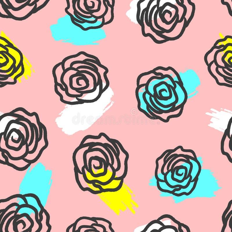 重复刷子用手被画的玫瑰冲程和概述  无缝逗人喜爱的花卉的模式 库存例证