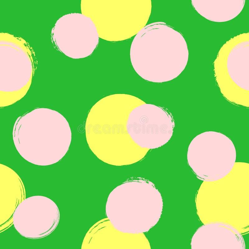 重复围绕斑点用手绘与粗砺的刷子 色的无缝的样式 皇族释放例证