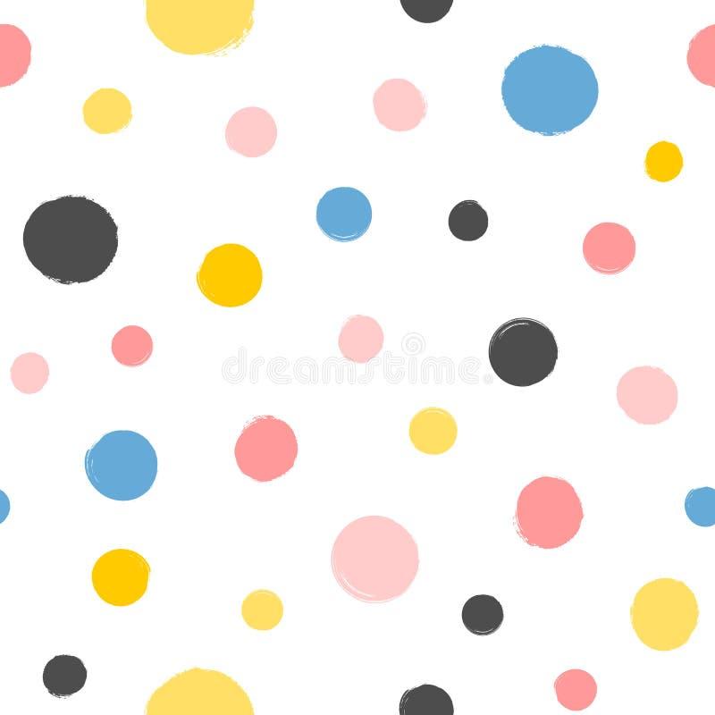 重复围绕斑点绘与水彩刷子 无缝几何的模式 库存例证