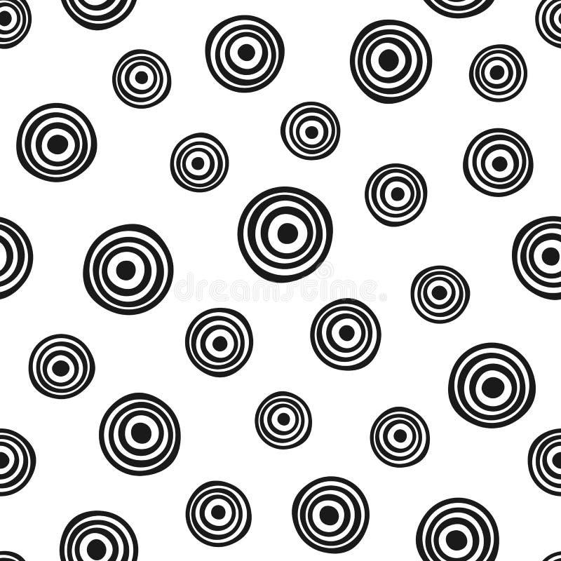 重复圆的几何形状 用手得出的无缝的样式 剪影,乱画 皇族释放例证
