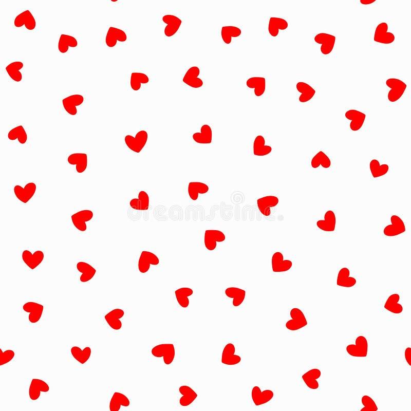 重复在白色背景的红色心脏 模式浪漫无缝 库存例证