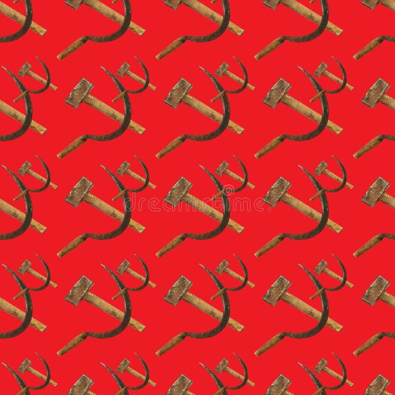 重复在红色的锤子和镰刀无缝的样式 库存例证