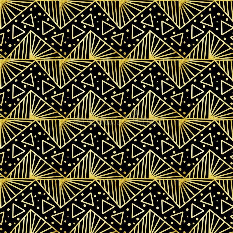 重复在黑背景的金黄转动的三角样式 库存例证