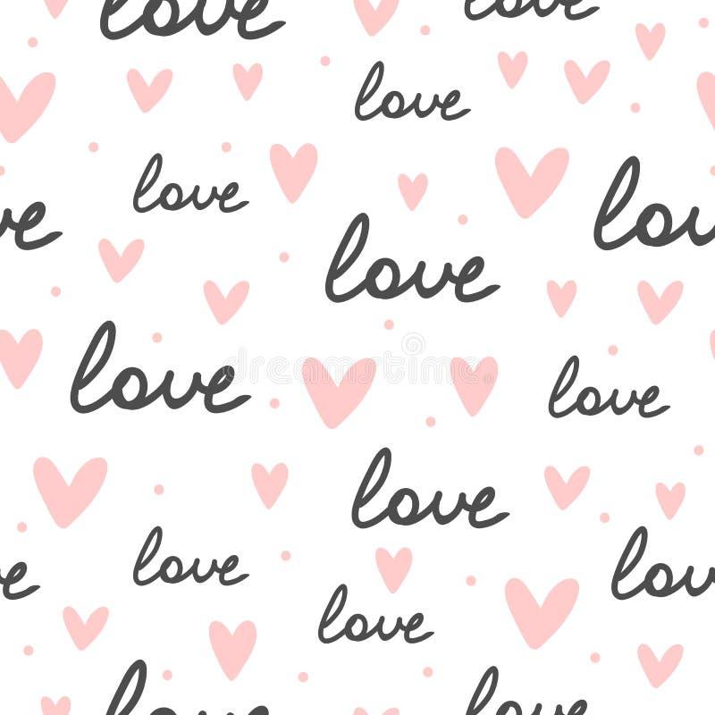 重复心脏,圆的小点和手写的词爱 模式浪漫无缝 库存例证