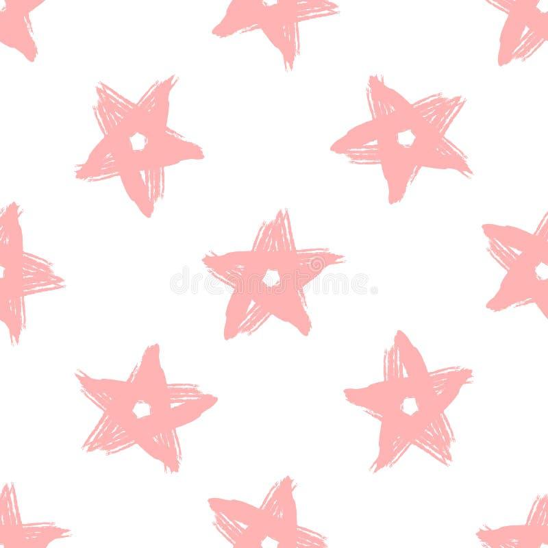 重复星用手画与粗砺的刷子 少女无缝的样式 库存例证