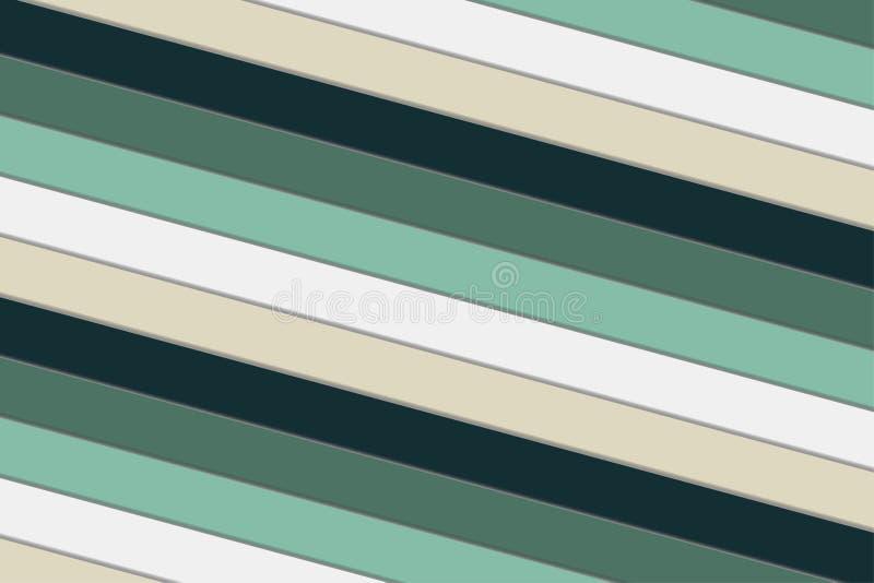 重复条纹装饰抽象背景绿色,白色和米黄 向量例证