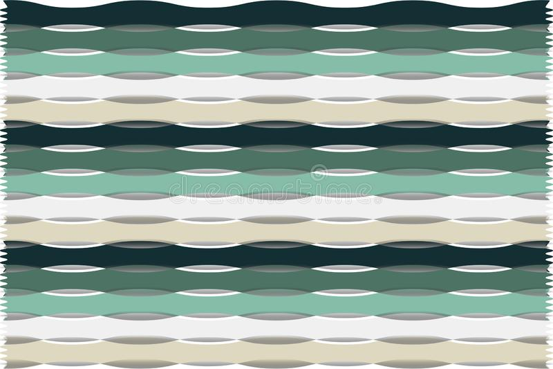 重复条纹装饰抽象背景绿色,白色和米黄 库存例证