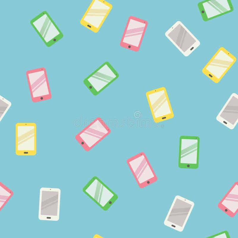 重复样式的五颜六色的手机,无缝有蓝色背景 皇族释放例证