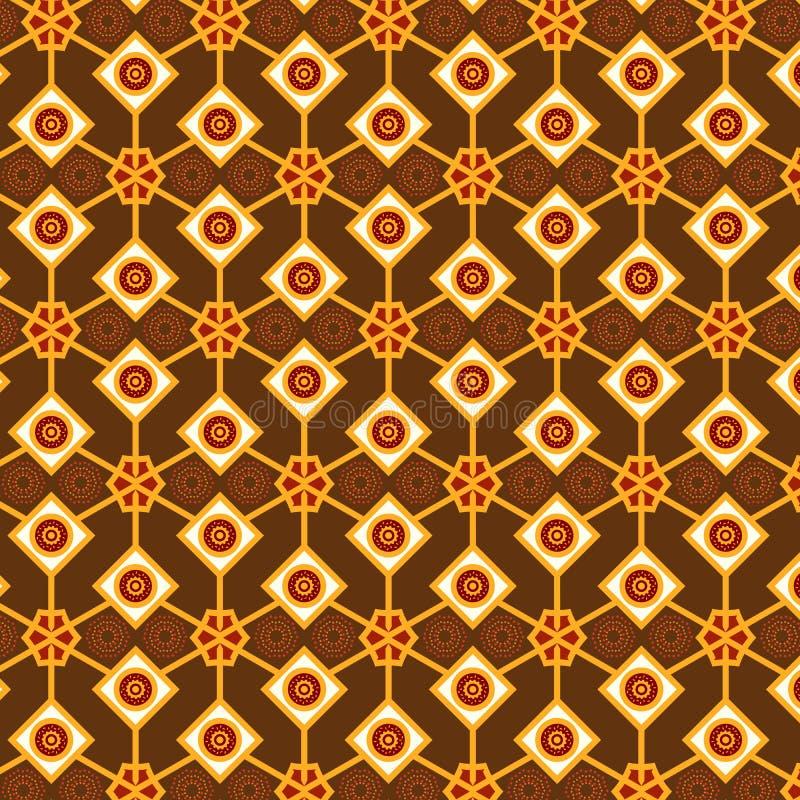 重复样式的五颜六色的棕色和米黄无缝的装饰的菱形 向量例证