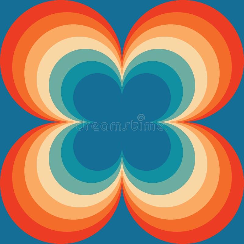 重复样式的摘要减速火箭的无缝的Backround橙色蓝色葡萄酒无缝的样式 库存例证