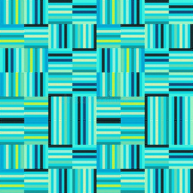 重复样式的蓝色和薄荷的绿色现代条纹 库存例证
