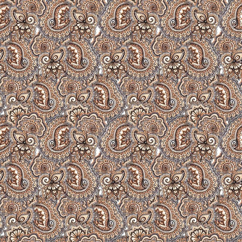 重复样式的装饰刺绣 阿拉伯佩兹利和花背景 免版税库存照片