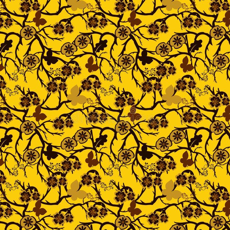 重复样式的金黄黄色和棕色花卉和分支 皇族释放例证