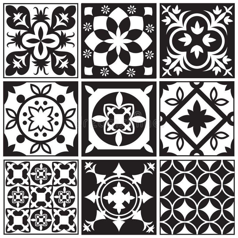重复瓦片的葡萄酒黑白照片 摩洛哥地中海铺磁砖的地板传染媒介样式 库存例证