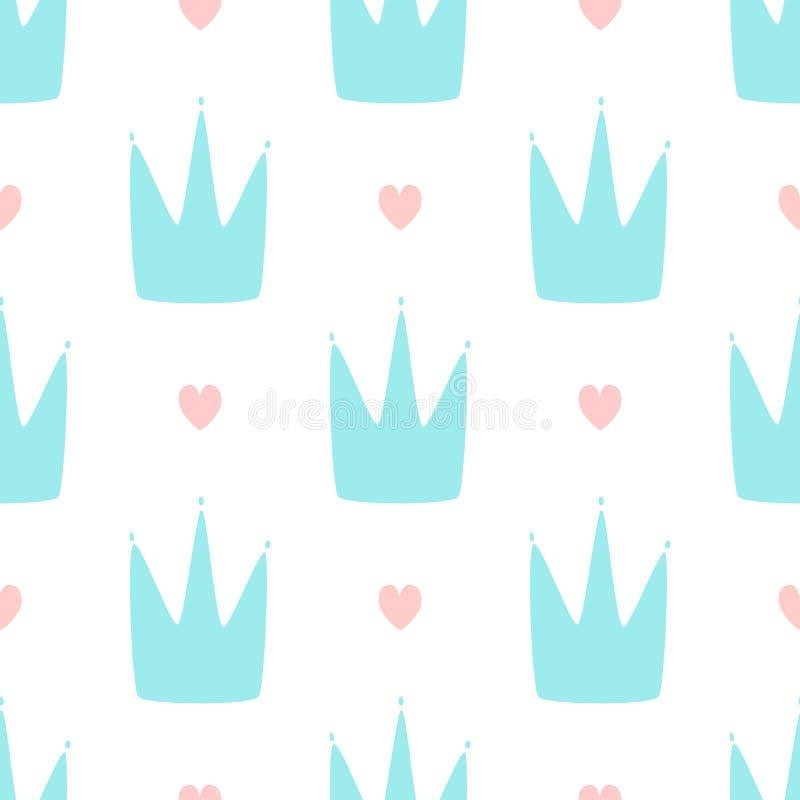 重复用手被画的心脏和冠 女孩的逗人喜爱的简单的无缝的样式 皇族释放例证