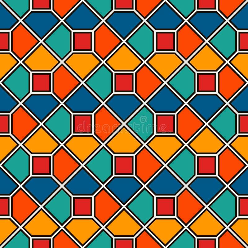 重复的八角形物彩色玻璃马赛克摘要背景 生动的陶瓷砖墙纸 模式无缝的表面 库存例证