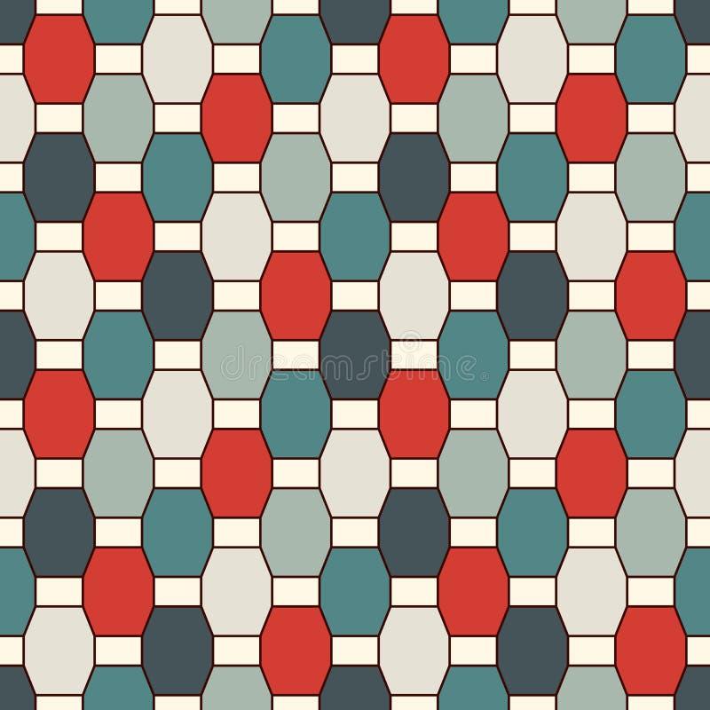 重复的八角形物彩色玻璃马赛克背景 与垂直的辫子主题的无缝的样式 几何瓦片装饰品 库存例证