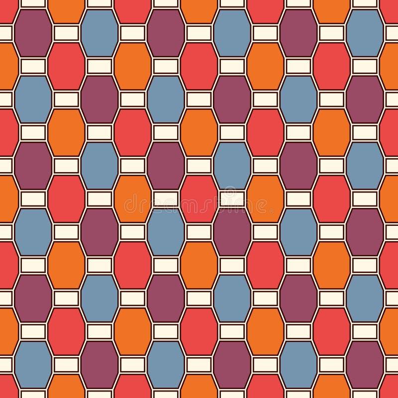 重复的八角形物彩色玻璃马赛克背景 与垂直的辫子主题的无缝的样式 几何瓦片装饰品 皇族释放例证