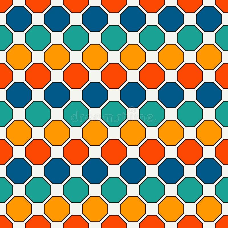 重复的八角形物彩色玻璃马赛克背景 明亮的陶瓷砖 与几何装饰品的无缝的样式 皇族释放例证