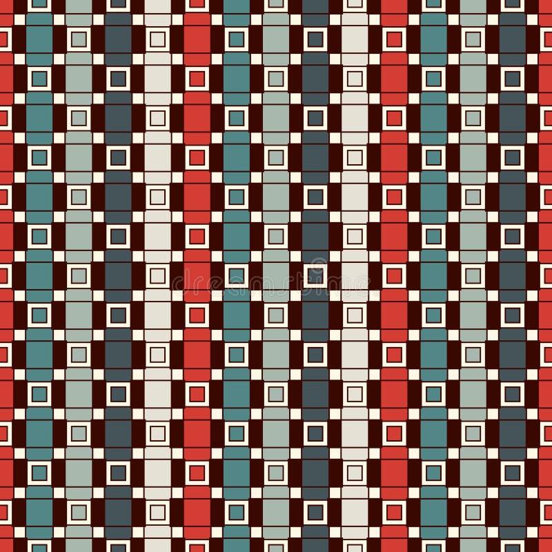重复的垂直的长方形块背景 砖主题 与几何装饰品的当代无缝的样式 皇族释放例证