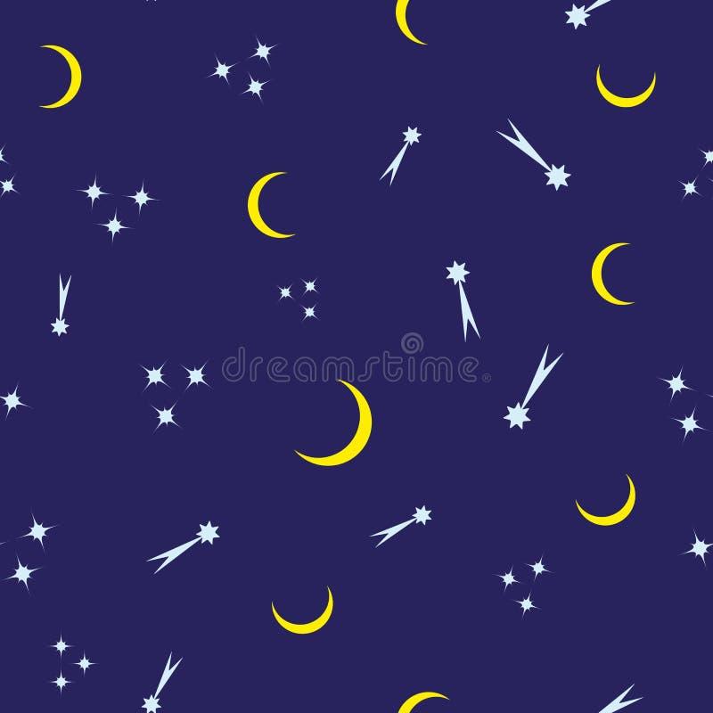 重复的彗星、星和月牙 孩子的无缝的样式 与夜空的印刷品 r 库存例证