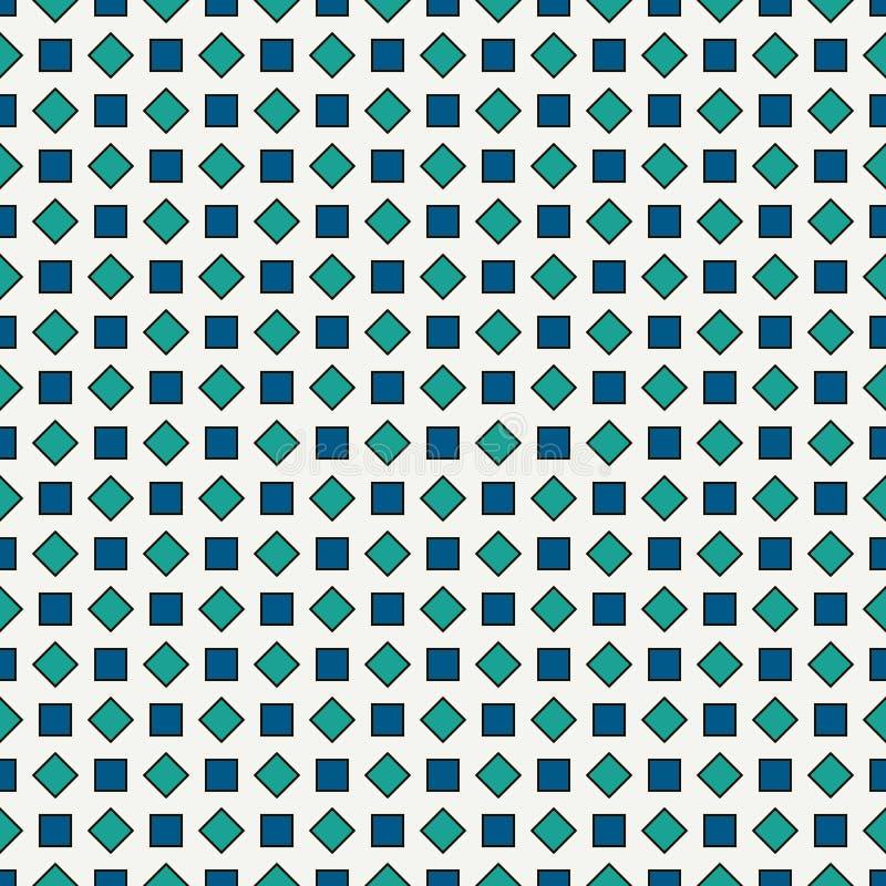 重复的蓝色金刚石背景 几何主题 与淡色方形的装饰品的无缝的表面样式设计 皇族释放例证