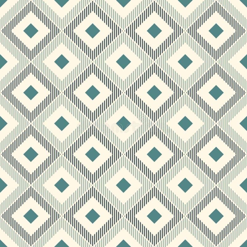 重复的金刚石和舱口盖线 Ikat墙纸 与当地设计的无缝的表面样式 种族装饰品 向量例证