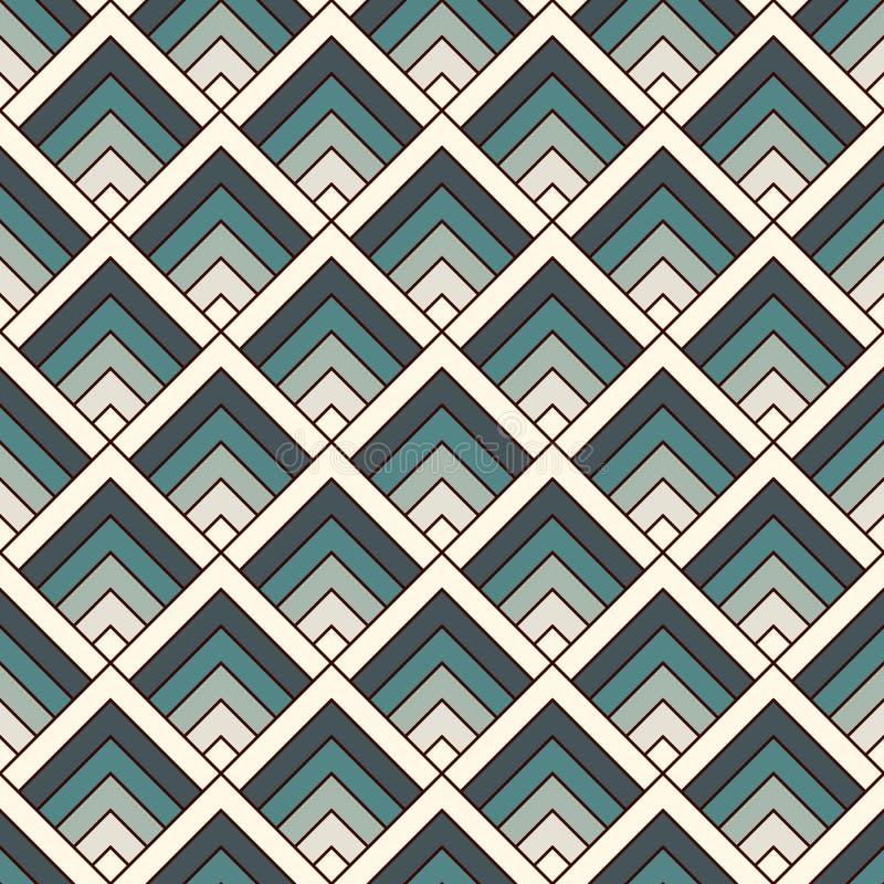 重复的V形臂章墙纸 与扇贝的亚洲传统装饰品 与标度的现代日本式数字式纸 向量例证