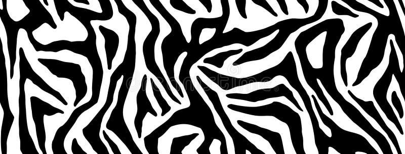 重复纹理的斑马毛皮 动物皮毛条纹,密林墙纸 黑白无缝的样式 库存例证