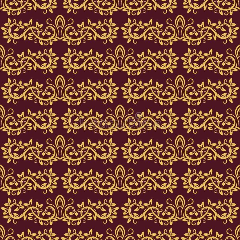 重复背景的锦缎无缝的样式 在巴洛克式的样式的金黄紫色花饰 古色古香的反复性的墙纸设计 库存例证