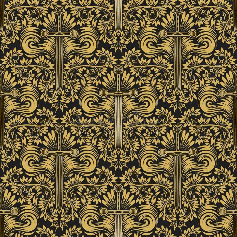 重复背景的锦缎无缝的样式 在巴洛克式的样式的金黄黑花饰 向量例证