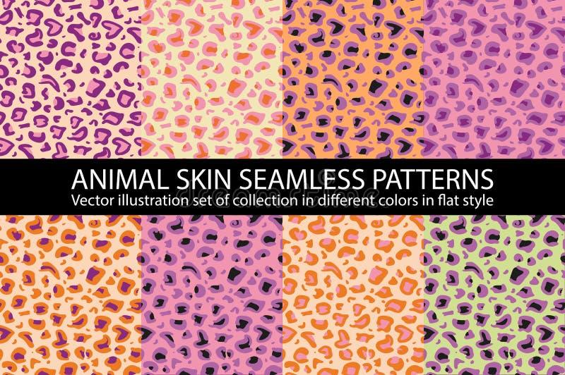 重复背景的集合桃红色动物皮毛无缝的样式传染媒介纹理eps 10例证豹子 向量例证