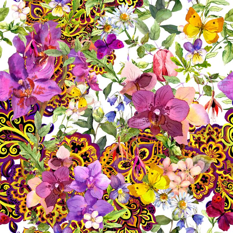 重复葡萄酒花卉背景 当代装饰装饰佩兹利,时尚设计的花 水彩 向量例证