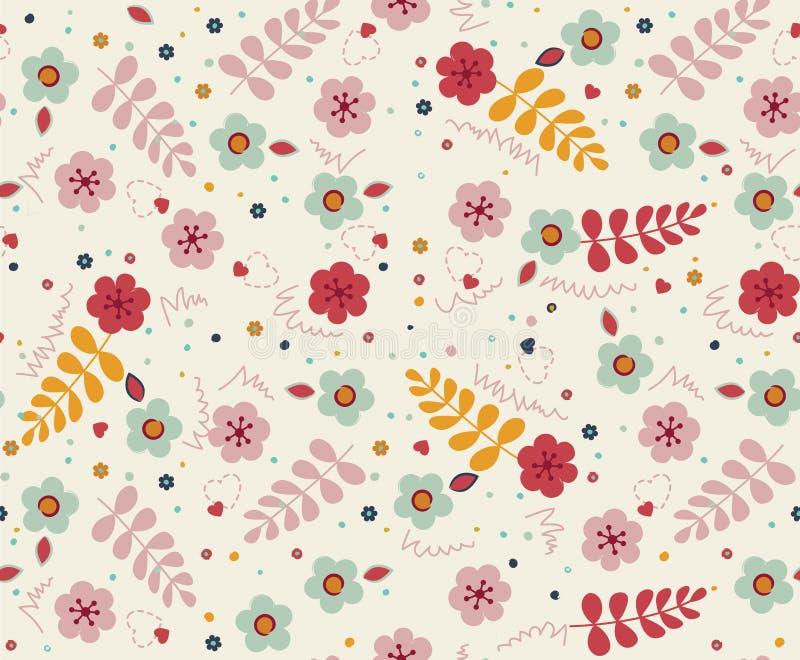 重复软和甜点在1980年` s颜色初的花卉样式 皇族释放例证