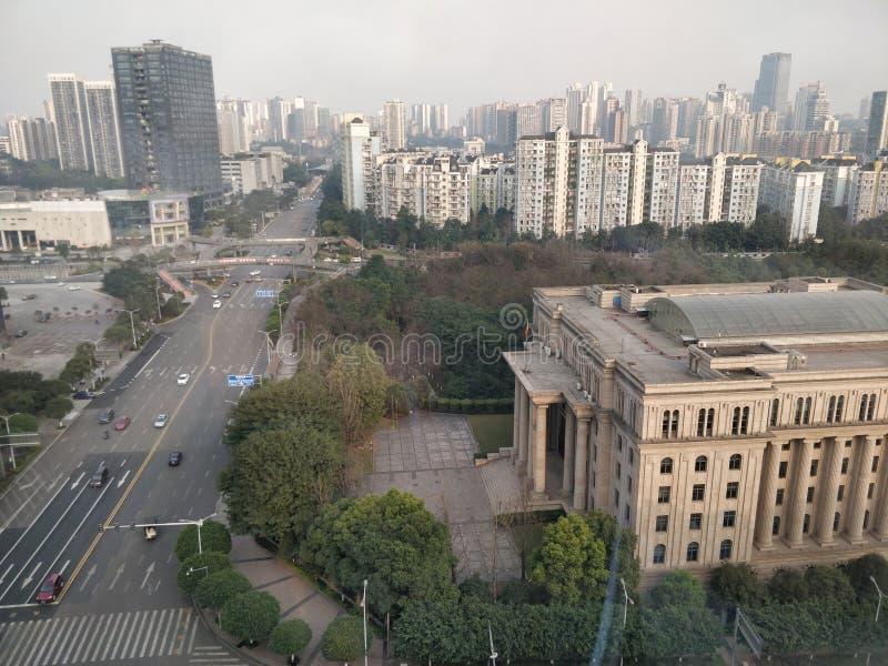 重庆从空中高的大厦的市视图 免版税库存图片