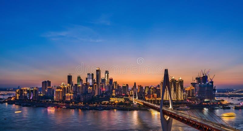 重庆夜地平线 免版税库存照片