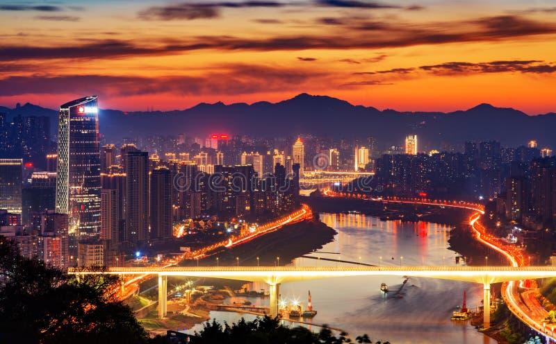重庆市夜地平线 免版税库存图片