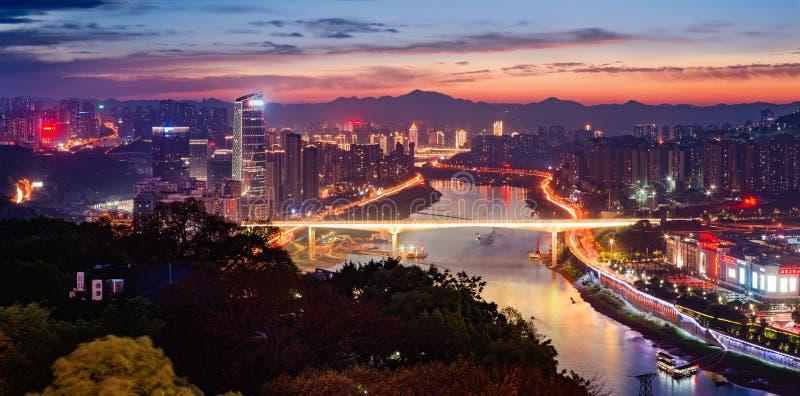 重庆市夜地平线 免版税库存照片